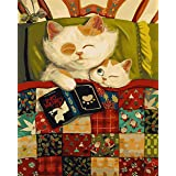 Paint by Numbers for Adults Framed   Komking Paint by Number Kits   DIY Painting Kits for Home Wall Decoration   Naughty Cat 16x20inch (Color: Naughty Cat Framed)