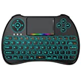 HEYNOW H9 Wireless Mini Keyboard(Colorful Backlit),2.4GHz Multifunctional Mouse Touchpad Combo,Rechargable Li-ion Battery Remote Control For PC,Xbox 360,Android TV Box,HTPC,IPTV,Pad and More Device