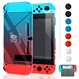 Dockable Case Compatible with Nintendo Switch,FYOUNG Protective Accessories Cover Case Compatible with Nintendo Switch and Nintendo Switch Joy-Con with a Tempered Glass Screen Protector - Blue and Red (Color: Blue and red)