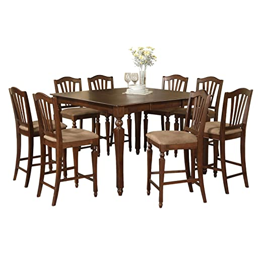 East West Furniture CHEL5-MAH-C 5-Piece Counter Height Dining Table Set