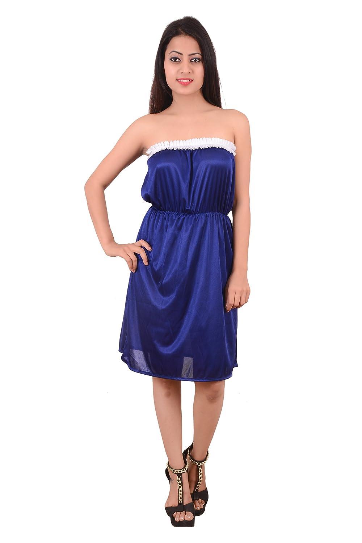 Nooraalia Women satin short nighty Royal blue