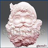 Santa Plaque- Soap/Candle/Polymer/Clay/Cold Porcelain 2D Silicone Mold (Color: light grey, Tamaño: 3 1/2