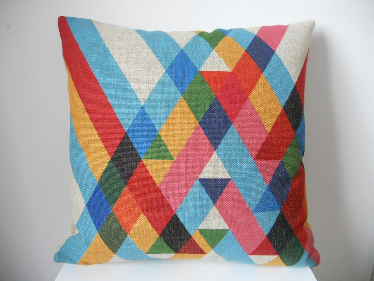 "Cotton Linen Square Throw Pillow Case Decorative Cushion Cover Pillowcase Color Stripes 18 ""X18 """