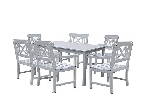 Vifah V1336SET3Bradley rettangolare tavolo e sedia con braccioli per esterni in legno Set da pranzo, bianco, 149.86000000000001x 78.739999999999995x 73.66cm