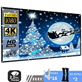 120 Inch 16:9 HD Projector Screen, P-JING Portable Widescreen Foldable Anti-Crease Indoor Outdoor Projector Movies Screen for Home Theater Support Double Sided Projection (Color: White, Tamaño: 120 inch)