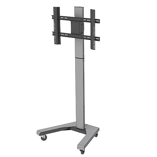 PMV Mount PMVTROLLEY Floor Stand for TV's Upto 21 - 55-Inch - Black/Silver