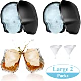Large 2 Packs 3D Skull Shape Ice Mold Large Silicone Skull Ice Trays with 2 Silicone Funnels for 400 ml Big Mouth Cup, Party Favors