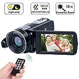 Digital Camcorder with IR Night Vision, WEILIANTE Full HD Digital Video Camera 24.0Mega Pixels 18X Digital Zoom Mini DV ( Two Batteries included)