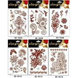 Adecco LLC 6PC Fashion Flash Waterproof Tattoo Women Red Ink Henna Jewel Sexy Lace Flower Pendant Wed Henna Temporary Tattoo Stick (1)