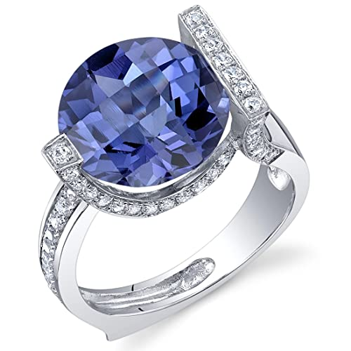 Revoni Artistic 7.00 Carats Checkerboard Round Cut Alexandrite Ring in Sterling Silver