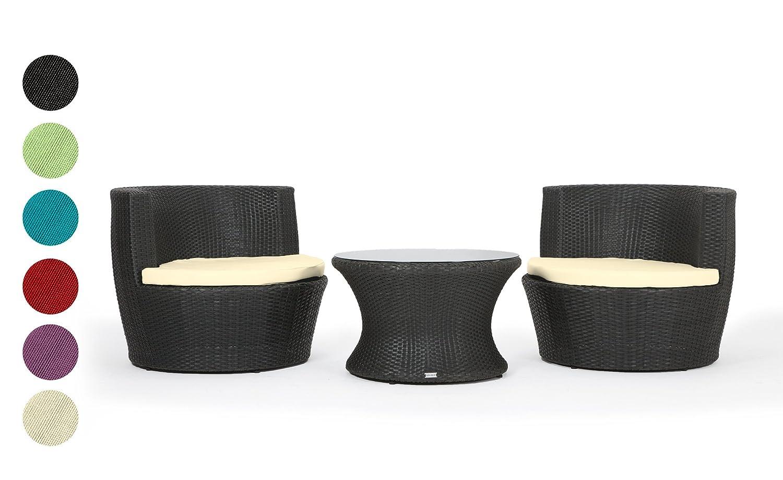 Rattan Gartenmöbel Sitzgruppe Capri 3 teilig schwarz Alurahmen hochwertig handgeflochten 3 Jahre Garantie Deluxe Polyrattan Set Sofa Lounge Möbel Gartengarnitur Kissenbezüge rot