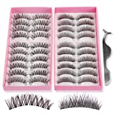 Teenitor 20 Pair 2 Desgin Crisscross False Eyelashes Lashes With A False Eyelashes Extension Applicator Tool, Handmade Cruelty Natural Looking (Tamaño: ZH-1/ZH-2)