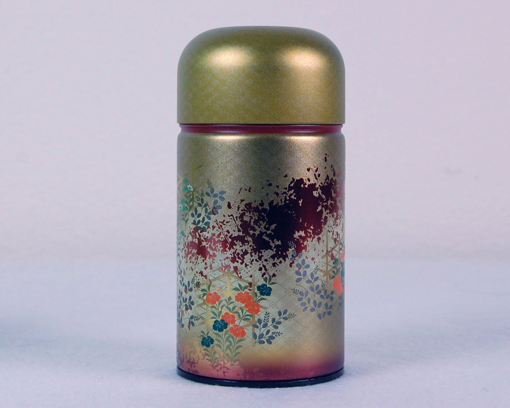 Ryu Mei Shounosato Japanese Metal Tea Tin Red