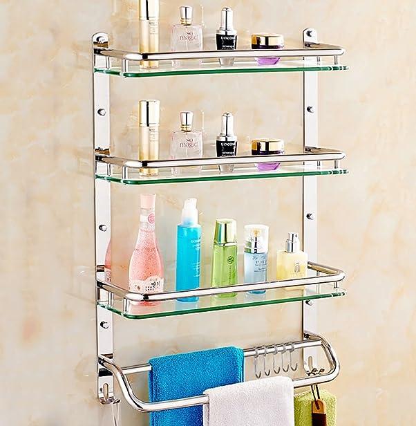 Mensola bagno / Mensola in acciaio inox 304 Mensola in vetro da parete Dimensioni: 41/51/61 * 12 * 66cm Durevole ( dimensioni : 61 centimetri )