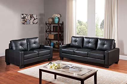UFE Monterey 2-pc Sofa and Loveseat for Living Room Black Leatherette