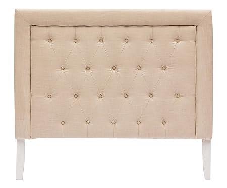 Cabecero Cama capitone ', revestimiento 100% algodón color beige. cm. 140x 10x 123h