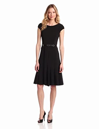 Anne Klein Women's Cap Sleeve Solid Dress, Black, 2