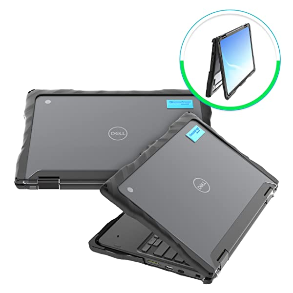 Gumdrop Droptech Case Designed for Dell 3100 2-in-1 Chromebook Laptop for K-12 Students, Teachers, Kids - Black, Rugged, Shock Absorbing, Extreme Drop Protection (Color: Black, Tamaño: Dell 3100 Chromebook 2-in-1 Laptop)