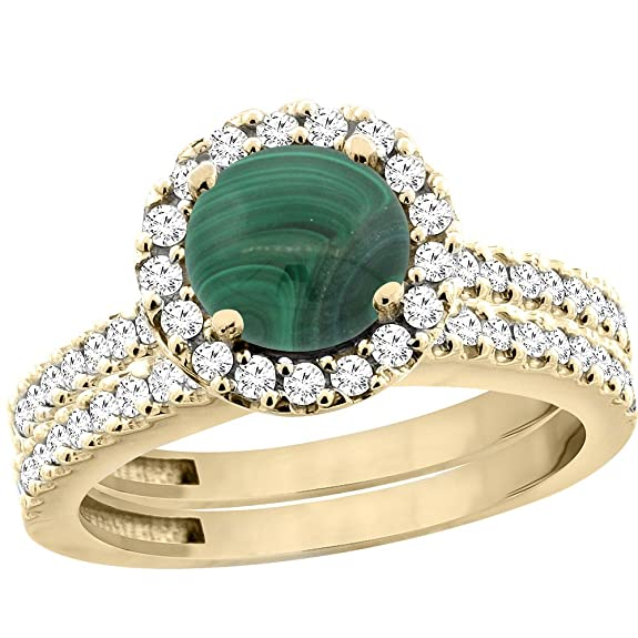 14ct Yellow Gold Natural Malachite Round 6mm 2-Piece Engagement Ring Set Floating Halo Diamond, sizes J - T