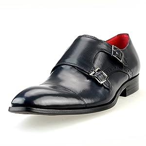 LUCIUS Men's Leather Cap-toe Double Monk-strap Color Insole Dress Shoes, Navy, 41 EU (US Men's 8.5 M)
