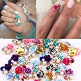 36pcs Flowers 3d Nail Jewelry And Decorations in Crystal Rhinestones 9 Colors Mixed Portable Size for Nails
