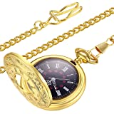 LYMFHCH Vintage Gold Pocket Watch Steel Mens Watch with Chain (Gold) (Color: Gold)