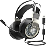 Mpow EG3 Gaming Headset, 7.1 Surround Sound Gaming Headphones for FPS Game, 50mm Driver, Stereo Over-Ear USB Computer Headset with Noise Cancelling Mic, LED Light, Easy Volume/Mic Control for PC, PS4 (Color: Silver)