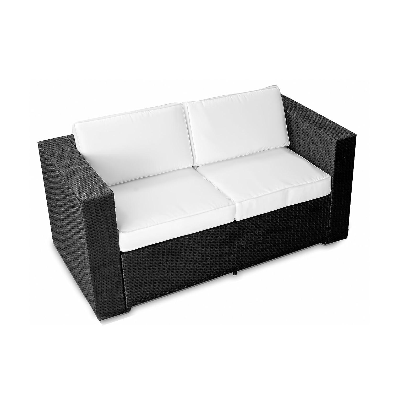 XINRO (2er) Polyrattan Lounge Sofa - Gartenmöbel Couch Bank Rattan - durch andere Polyrattan Lounge Gartenmöbel Elemente erweiterbar - In/Outdoor - handgeflochten - schwarz