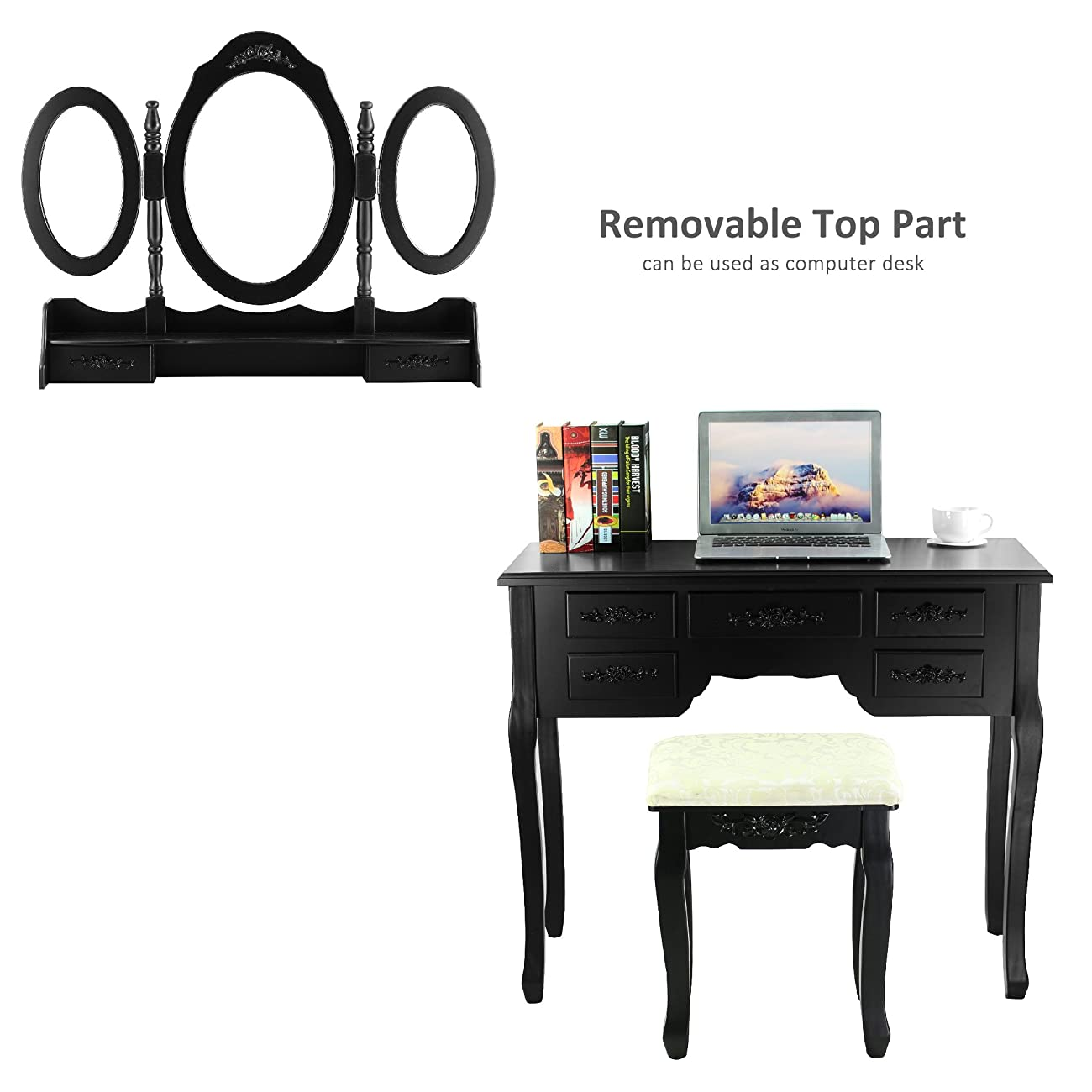 Tribesigns Vanity Makeup Table Set with Stool and Mirror (3 Mirror + 7 Drawer) 5