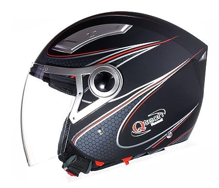 Qtech - Casque jet avec double visière - moto/scooter - noir ou blanc - Noir Mat/Rouge - M (57-58 cm)