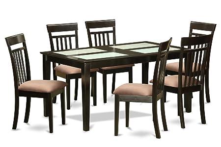 East West Furniture CAP7G-CAP-C 7-Piece Dining Table Set