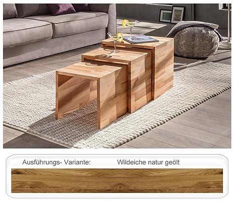 3 Satztisch Trace Wildeiche geölt 49x40x45cm Couchtisch Beistelltisch Dreisatztisch Wohnzimmertisch Wohnzimmer
