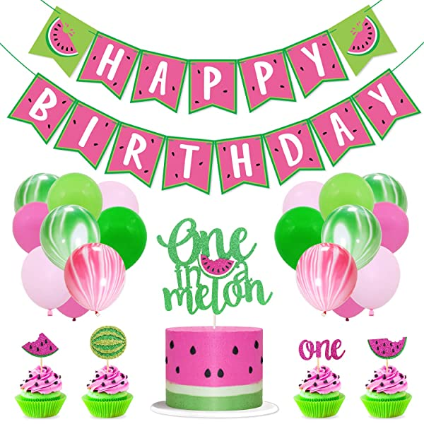 Watermelon One First Birthday Party Banner Decoration