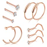 D.Bella Nose Rings, 22G Nose Pin Studs 1.5mm 2mm 2.5mm Fake Nose Ring Ear Lip Hoop Jewelry, Rose Gold