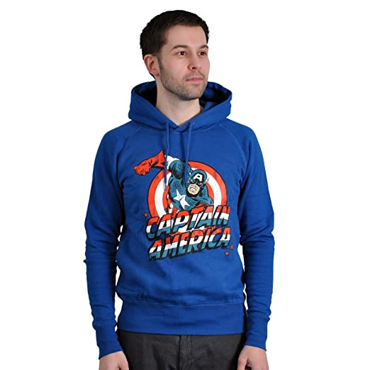 Sweat-Shirt Captain America Bleu à Capuche Comic Title