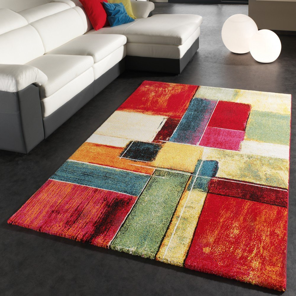 Rug Modern Canvas Look Designer Carpet Colourful Checkered Cream Green Red Blue, Size 200x290 cm       Customer review