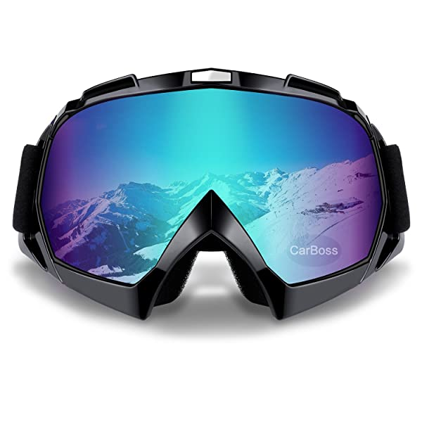 Motorcycle Goggles Anti UV Anti Fog Dustproof ATV Motocross Riding Glasses (Color: Colorful Lens Black Frame)