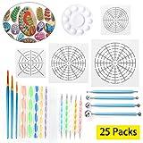 Pack of 25Pcs Mandala Dotting Tools, Include Mandala Stencil, Mandala Dotting Pen, Paint Tray,Brush and Modeling Tools for for Painting Rocks Pen Dotting Tools Kids' Crafts by LAMPTOP