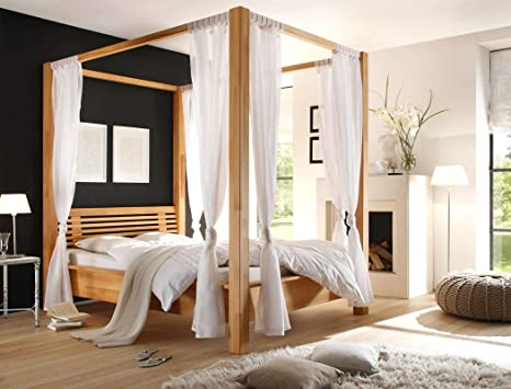 hochwertiges Himmelbett Alessio 140x200 Kernbuche geölt Massivholzbett Holzbett Bett Singlebett Schlafzimmer