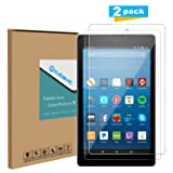 Tempered Glass Screen Protector for Amazon All-New Fire HD 8 Tablet 2017, [2-Pack] Cubevit Fire HD 8 7th Screen Protector Glass, Bubble Free/ 9H/ Scratch Proof Glass Screen for Fire HD 8 2017 Release (Color: Clear)