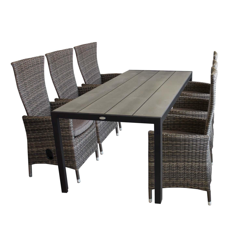 7tlg aluminium polywood gartenm bel set gartentisch 205x90cm 6x gartensessel r ckenlehne. Black Bedroom Furniture Sets. Home Design Ideas