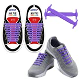 Homar No Tie Shoelaces - Best in Sports Fan Shop - Silicon Elastic Shoe Laces with Multicolor to Choose Perfect for Kids and Adults - Purple