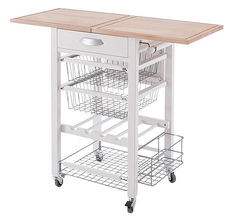 Arredamenti Italia AR _ it 585Gastone/Solid Beech Wood Kitchen Trolley White