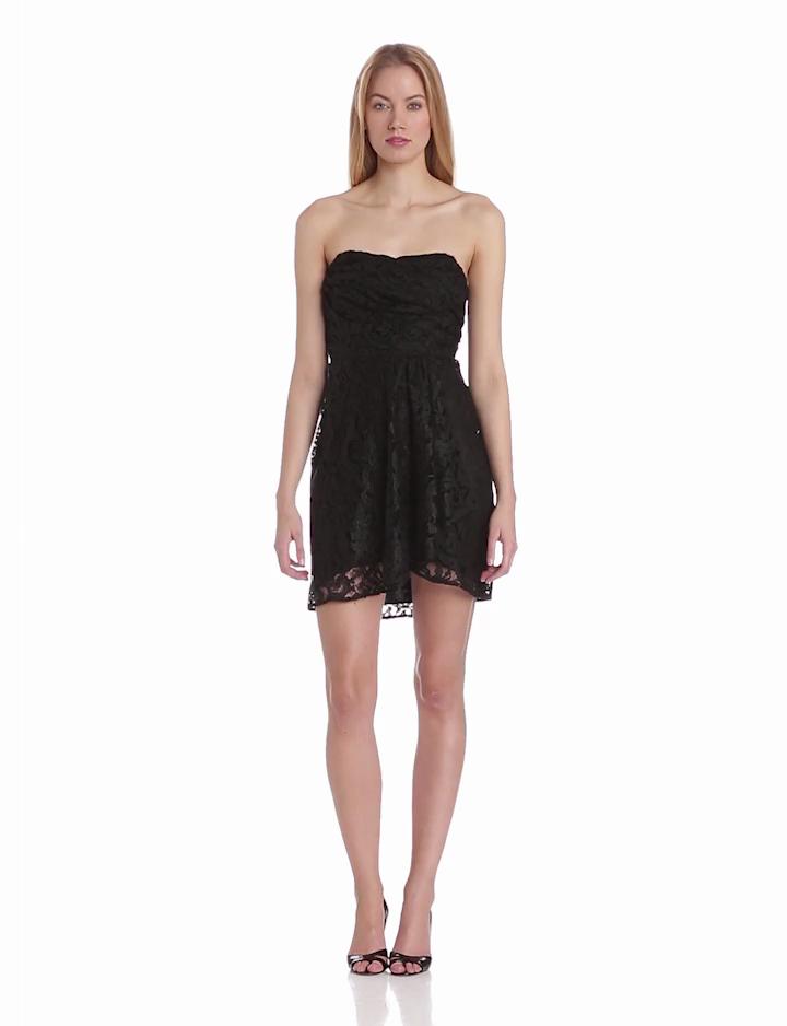 aryn K Womens Strapless Lace Dress, Black, Small