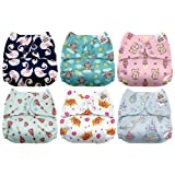 Mama Koala One Size Baby Washable Reusable Pocket Cloth Diapers, 6 Pack with 6 One Size Microfiber Inserts (Fluff Queen) (Color: Fluff Queen, Tamaño: One Size)