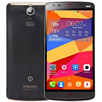 """KingZone Z1 OctaCore 4G LTE Smartphone débloqué 5.5"""" (2 Go RAM, 16 Go ROM, Android 4.4 Kitkat, JDI Display 1280*720P, GPS, Dual SIM, 13MP camera) by Technikware.at (Noir)"""