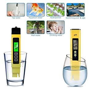 Spurtar 2Pcs Water Quality Test Meter TDS PH EC Temperature 4 in 1 Set High Accuracy Measurement Range, Auto Calibration Ideal kit for Hydroponics, Aquariums, Drinking Water, Ro System, Pool. (Color: Yellow)