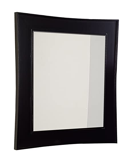 21.5-in. W x 47-in. H Traditional Birch Wood-Veneer Wood Mirror In Matte Black