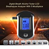 TOPCHANCES Quick Response Professional LCD Dispaly Digital Breath Alcohol Tester Breathalyzer with 5pcs Mouthpieces for Police Alcohol Parking Breathalyser