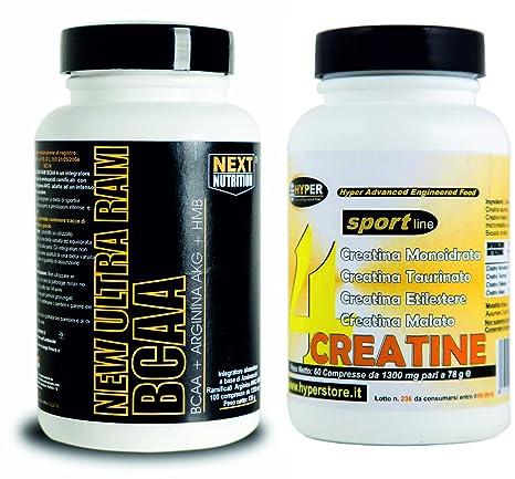 Das Set beinhaltet: verzweigtkettigen Aminosäuren BCAA HMB mit Vitamin-und Arginin Alpha Keto Glutarata 200 Tabletten + 4 Quellen von Kreatin (Monohydrat, Ethylester, Taurinat, Malat) 60 Tabletten